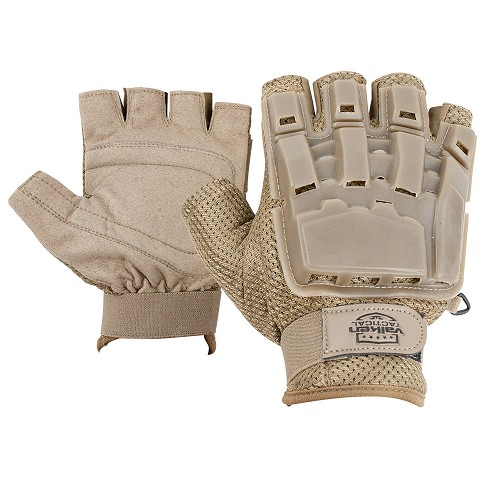 Valken Tactical Half Finger Plastic Back Gloves-TAN